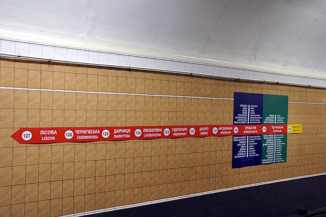 Kiovan metroaseman reittikartta