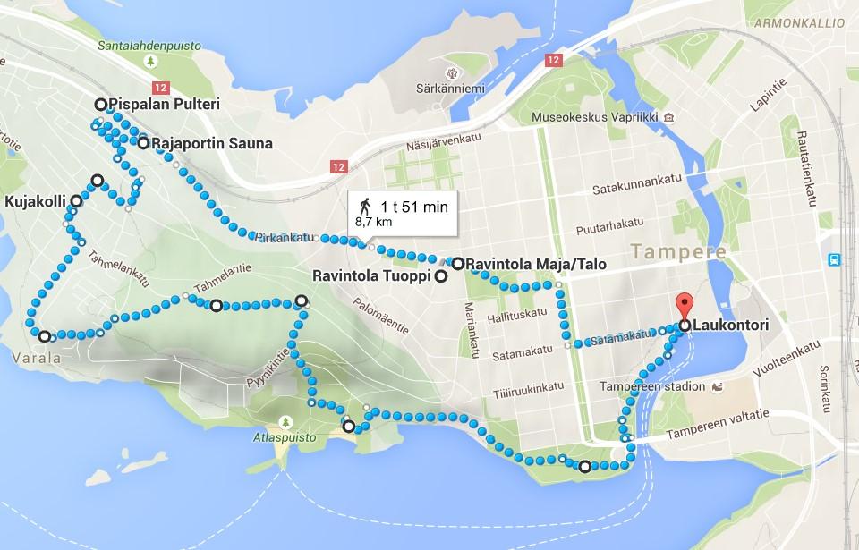 Reittikartta (klikkaa kuvaa avataksesi reitin Google Mapsiin)