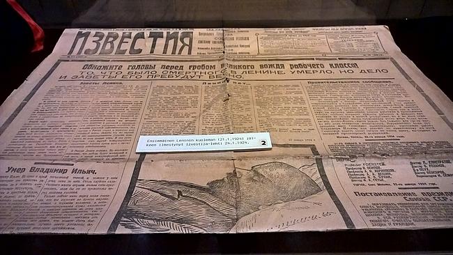 Leninin kuoleman jälkeen ilmestynyt ensimmäinen Izvestija-lehti