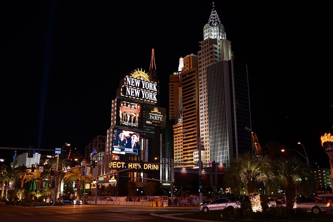 New York New York kasino pitää sisällään mm. Vapauden patsaan ja Chrysler Buildingin.