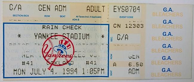 Pääsylippu N.Y. Yankees vs. Oakland Athletics, 1994