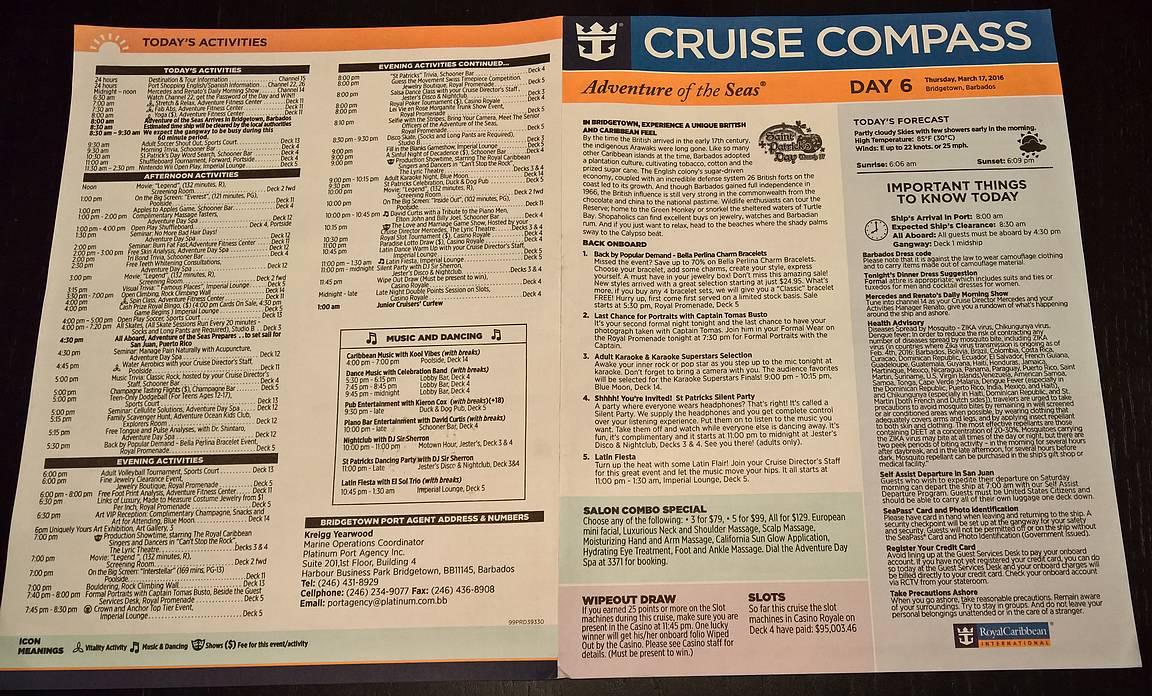 Laivan oma päivittäin hytteihin jaettava CRUISE COMPASS kertoi päivän ohjelman.