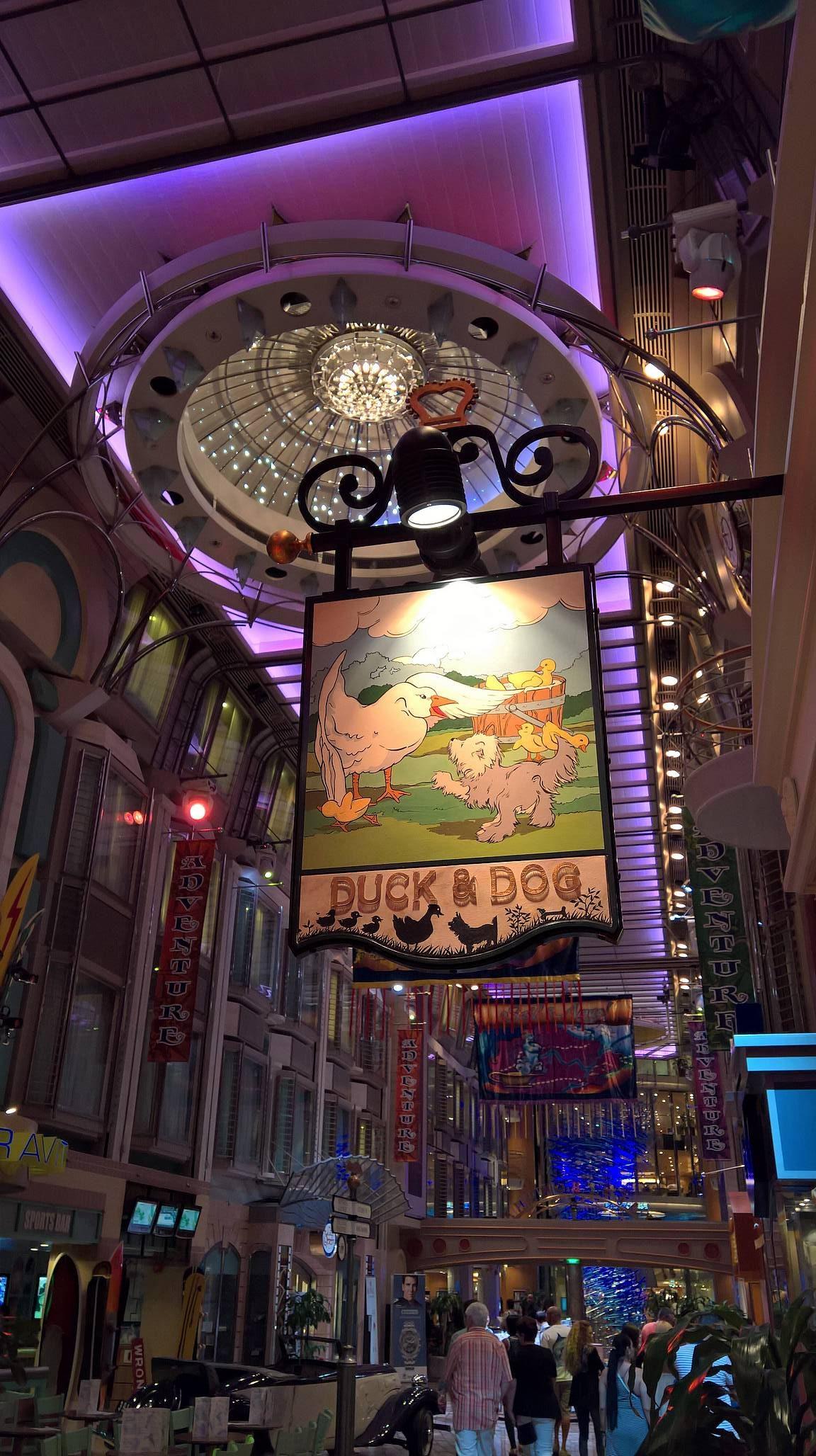 The Duck & Dog Pub sijaitsi keskeisellä paikalla laivan promenadella.