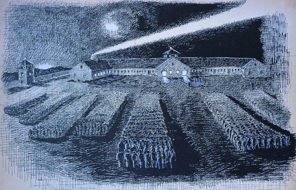 Nimenhuuto, marraskuu 1938 - piirros Karl Freund