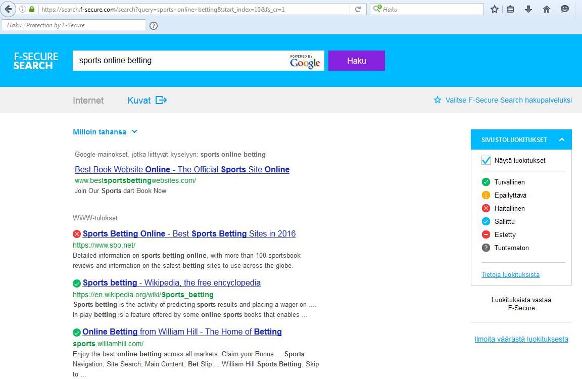 """F-Secure Search estää haitallisille sivuille pääsyn hakujen yhteydessä ja poistaa esimerkiksi """"aikuismateriaalin"""" hakutuloksista."""