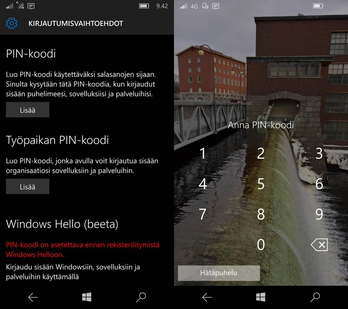 Windows puhelimen suojausasetuksia ja suojattu näyttö.