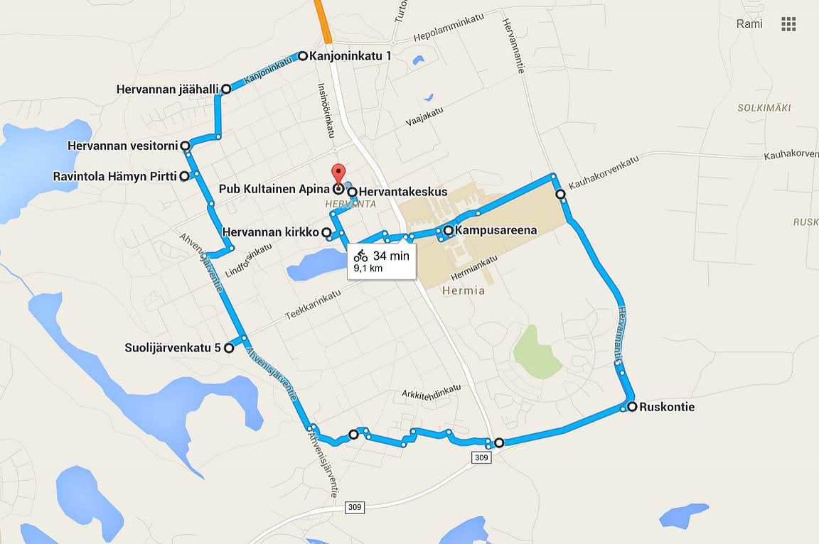 Hervanta tutuksi pyöräillen - Napsauta kuvaa, niin kartta aukeaa Google Mapsiin.