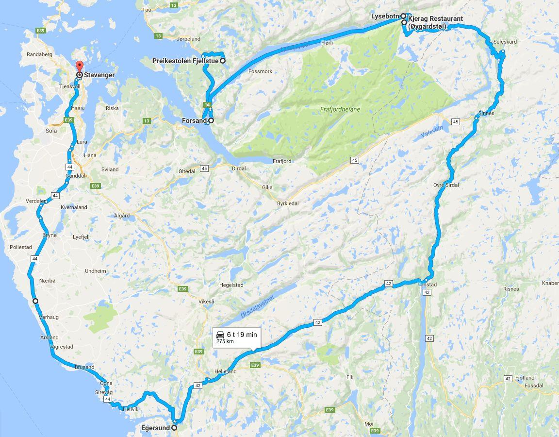 Preikestolenilta Kjeragille ja sieltä Stavangeriin (klikkaa kuvaa avataksesi Google Mapsin).