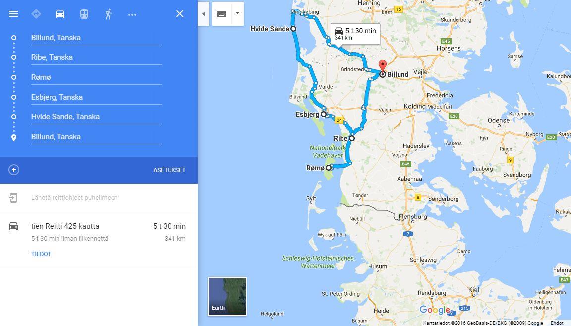 Pitkän päiväretken aikana ehti touhuamaan vaikka mitä. (Klikkaa kuvaa avataksesi kartan Google Mapsiin.)