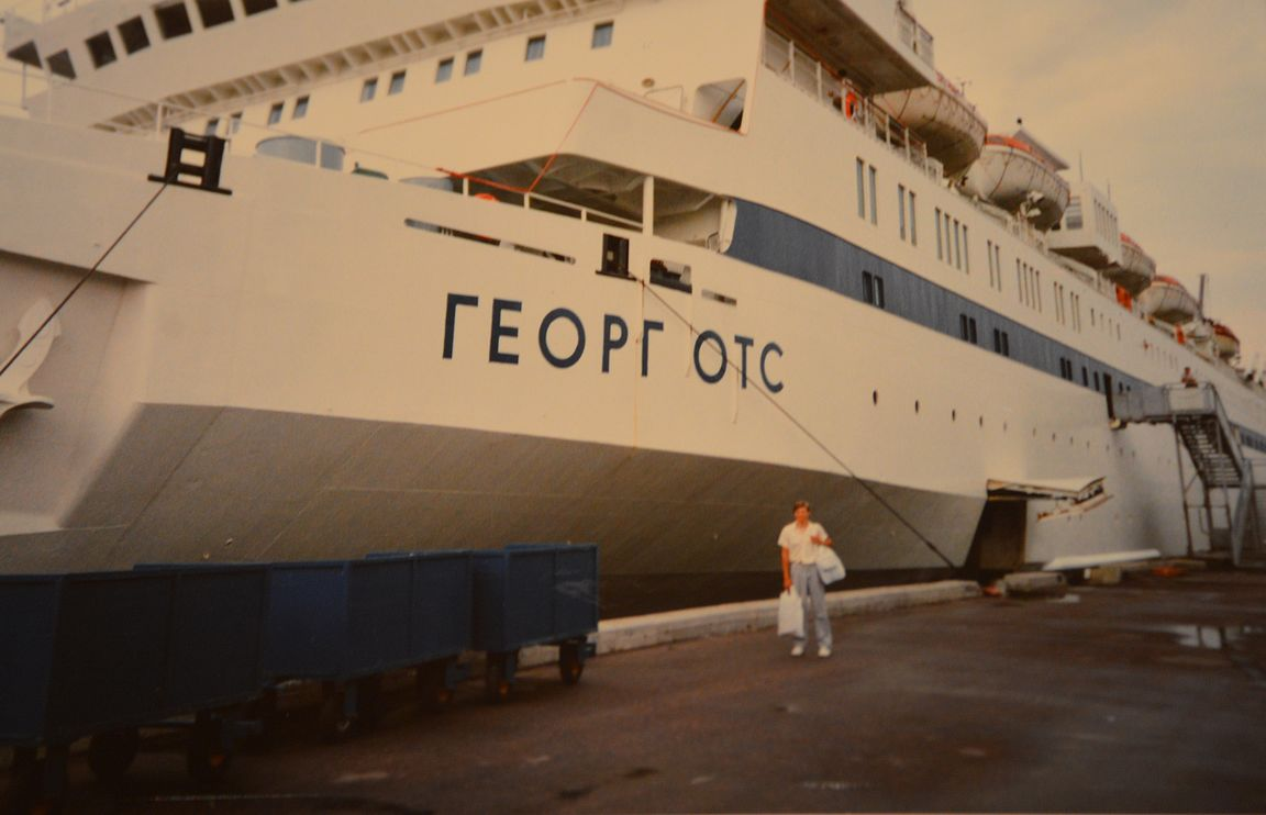 M/S George Ots ja minä Tallinnan satamassa heinäkuussa 1988.
