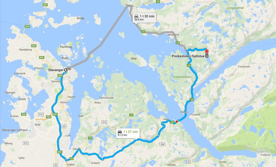 Stavangerista Preikestolenille pääsee kahta reitti. (Klikkaa kuvaa avataksesi reitit Google Mapsiin).