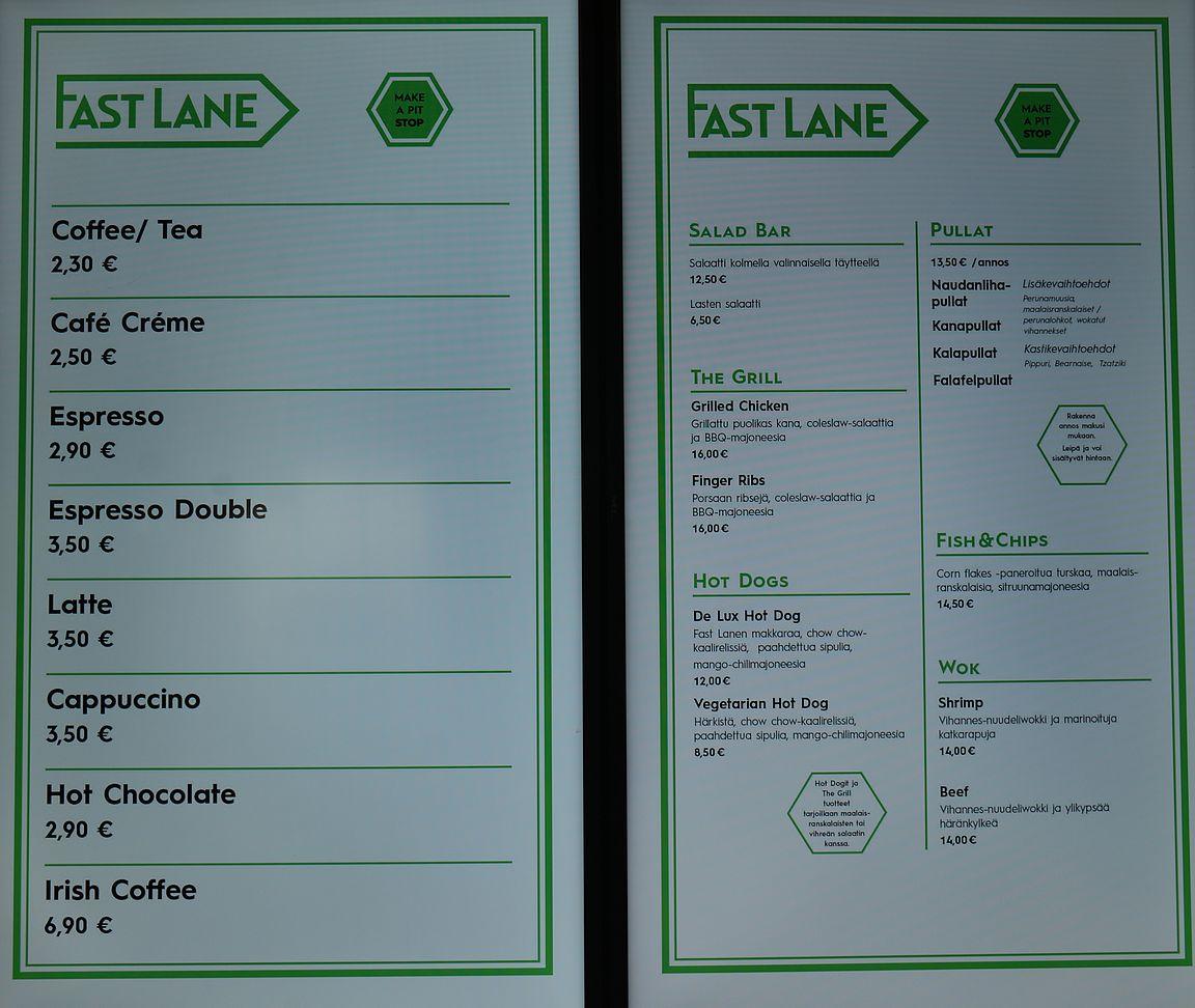 Fast Lane menu