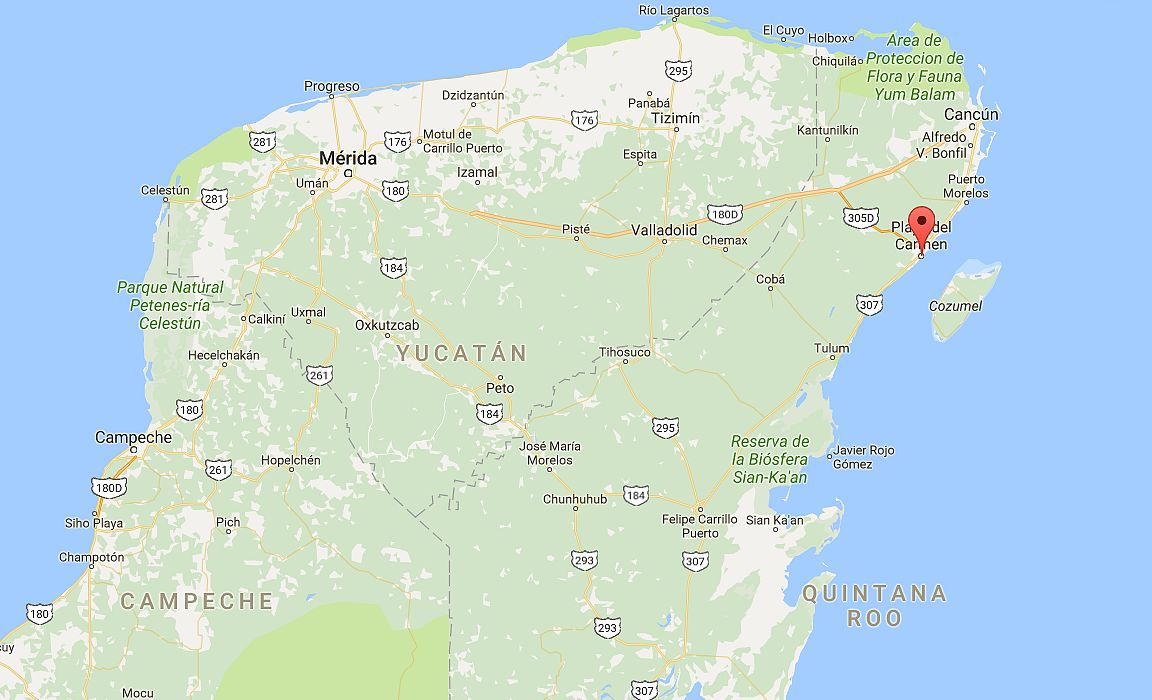 Playa del Carmen ja Jukatanin niemimaa. Klikkaa kuvaa avataksesi Google Mapsin.