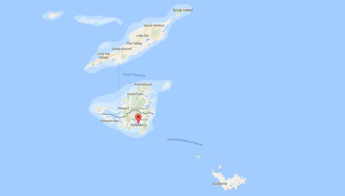 St. Maarten on Anguillan ja St. Bartsin välissä Karibian merellä. Klikkaa kuvaa avataksesi kartan Google Mapsiin.