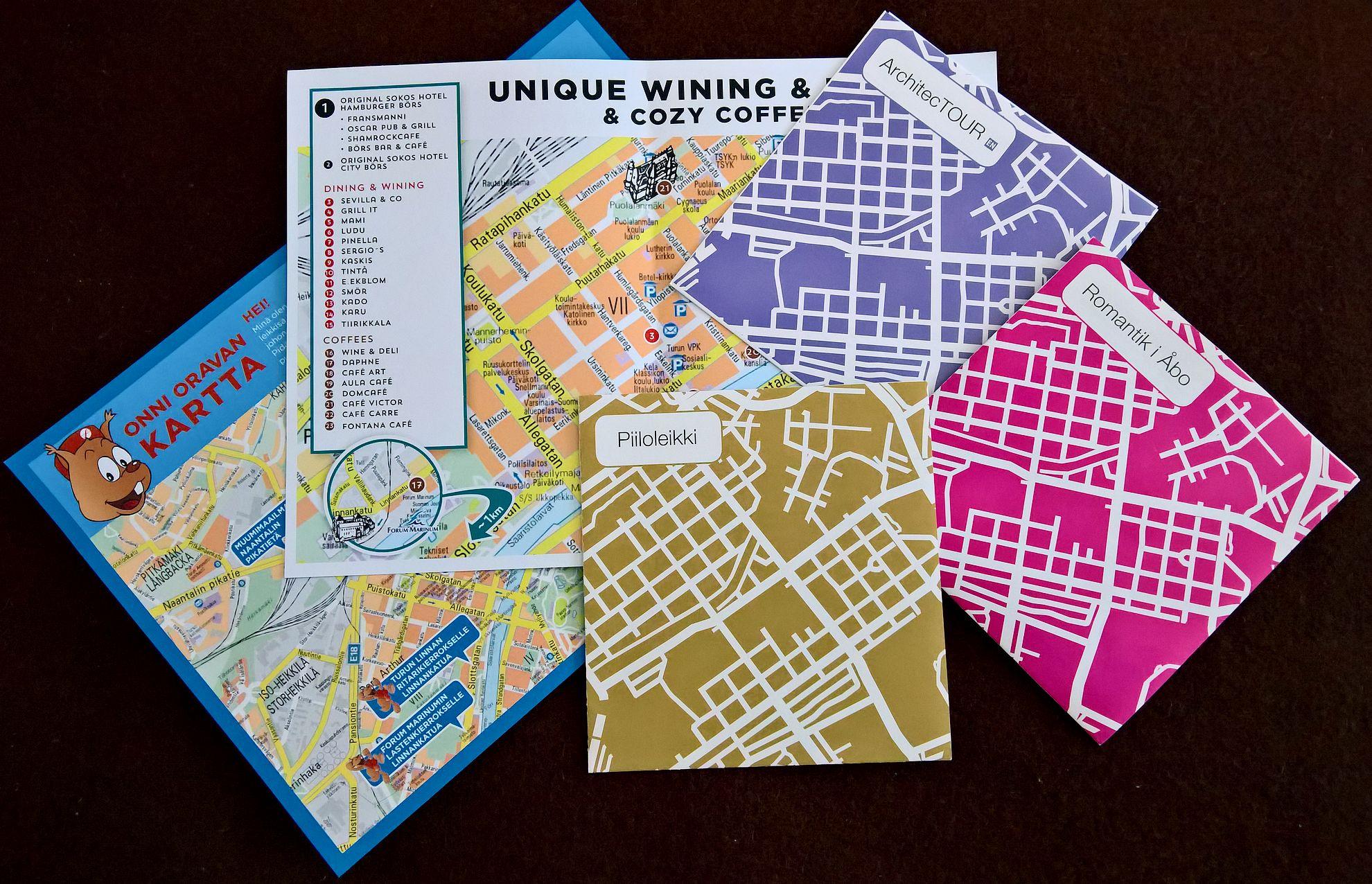 Turkuun tutustumiseen sopivia karttoja löytyy jokaiselle.