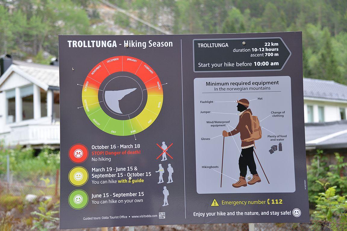 Ennen Trolltungan vaellusta on muistutus reitin haasteellisuudesta.