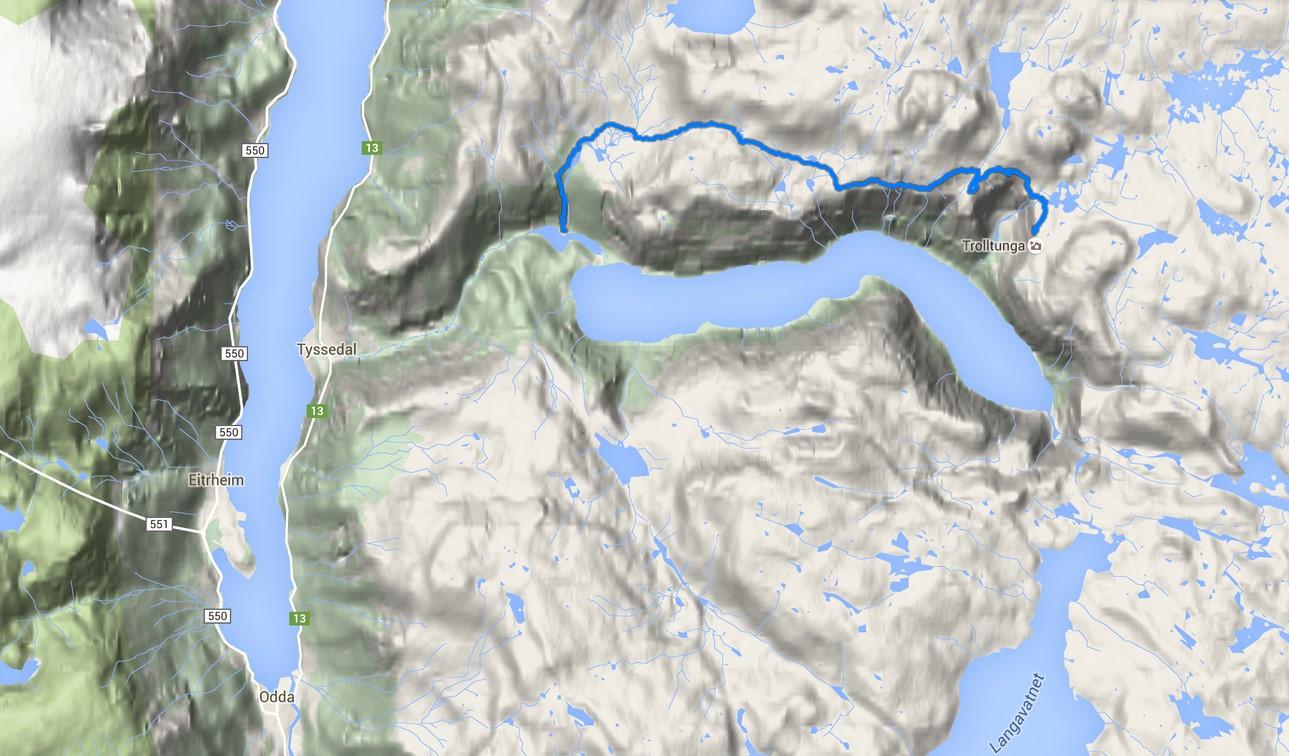Trolltungan vaellusreitti kartalla. (Klikkaa karttaa katsoaksesi sijainnin tarkemmin.)