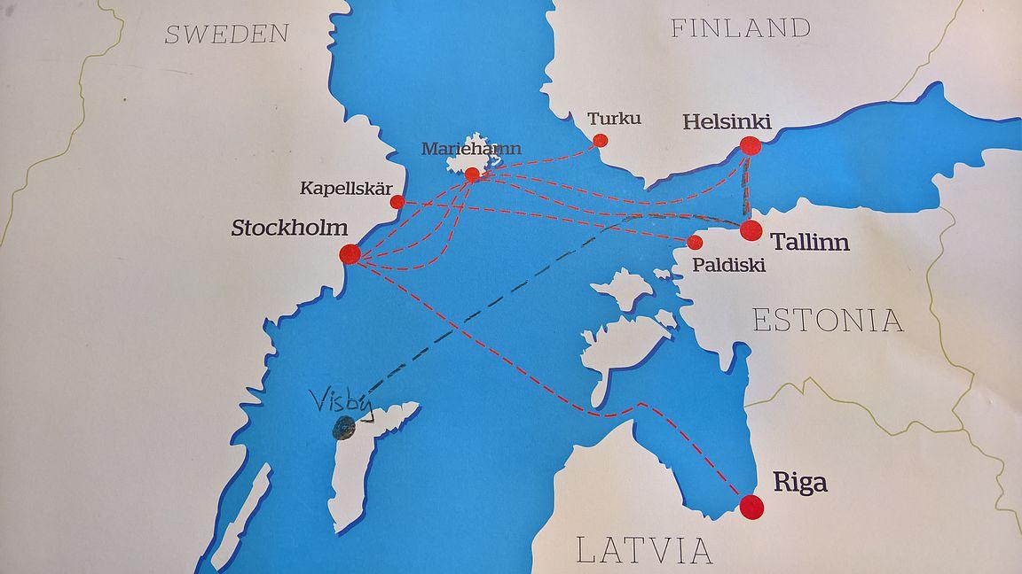 TallinkSiljan Visbyn risteilyt liikennöidään Tallinnan kautta.