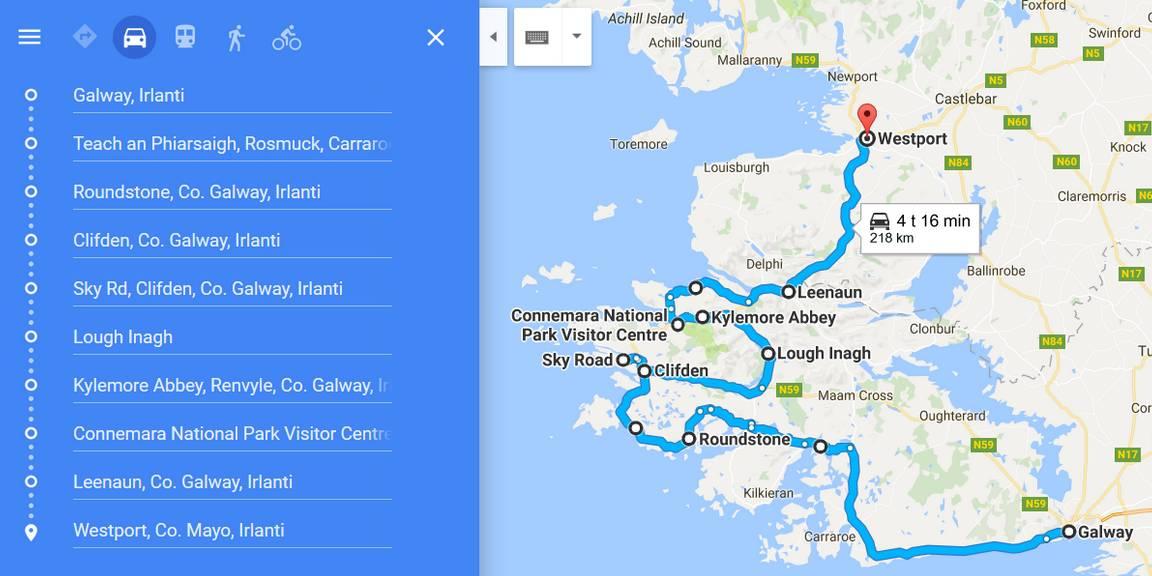 Connemaran esimerkkireitti. Klikkaa kuvaa avataksesi reitti Google Mapsiin.