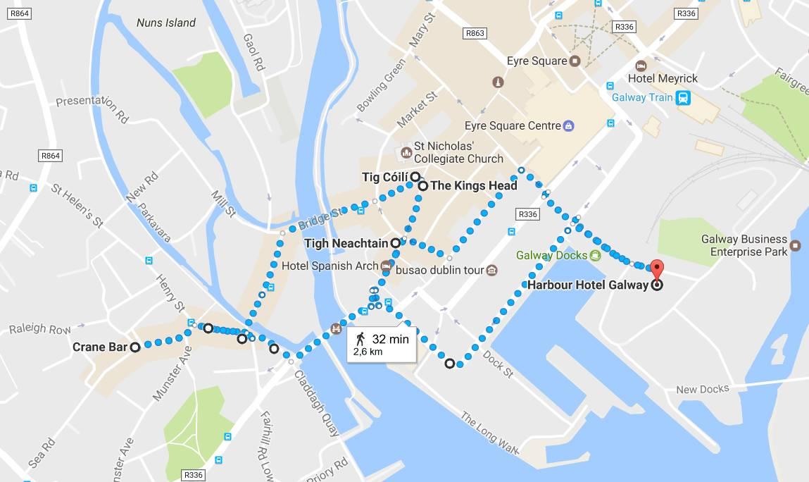 Galway parhaat pubit (kilkkaa karttaa avataksesi sen Google Mapsiin)