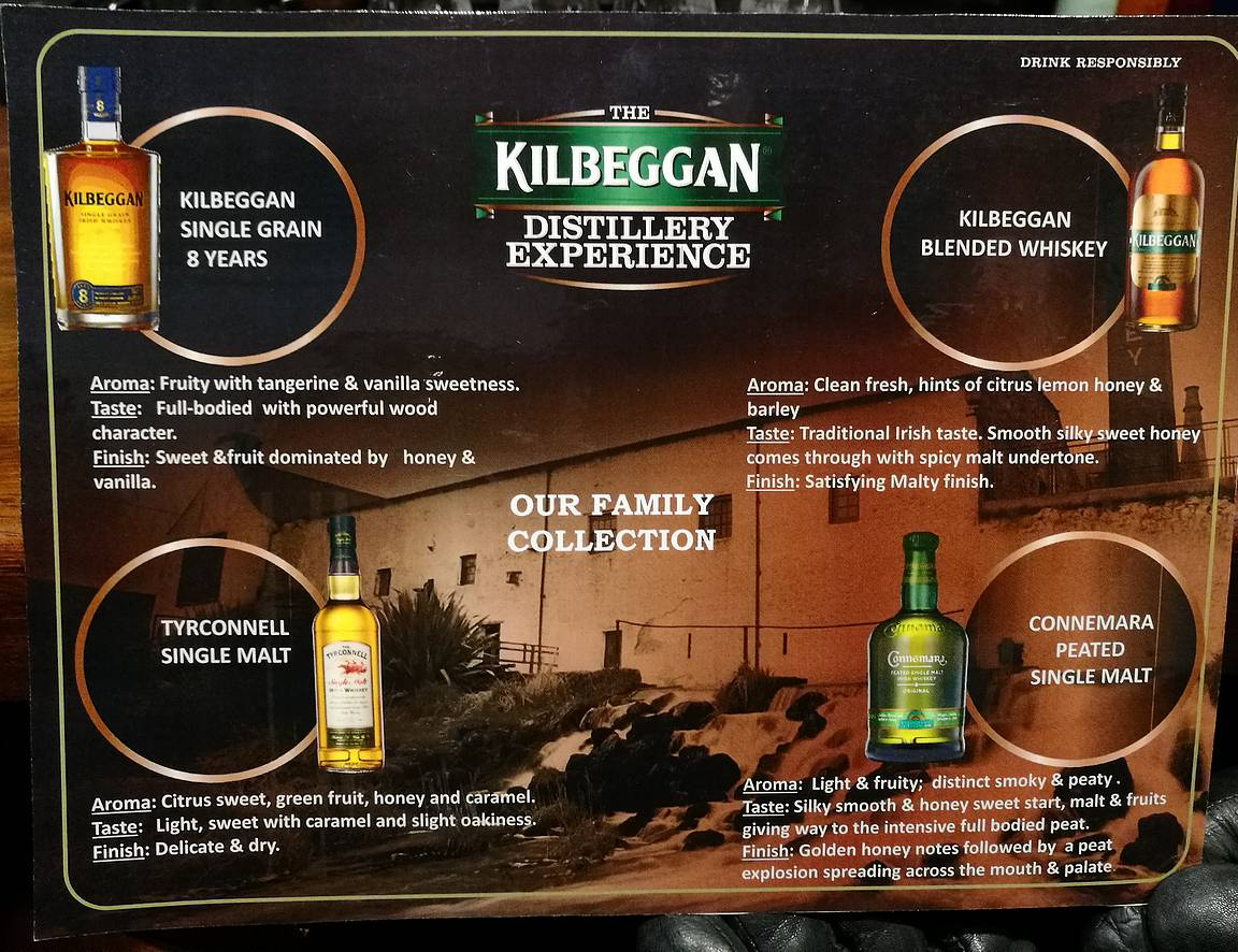 Maisteltavana oli neljä eri viskiä: Kilbeggan 8 Single Grain, Kilbeggan Irish whiskey, Tyrconnell Single Malt ja Connemara Peated Single Malt.