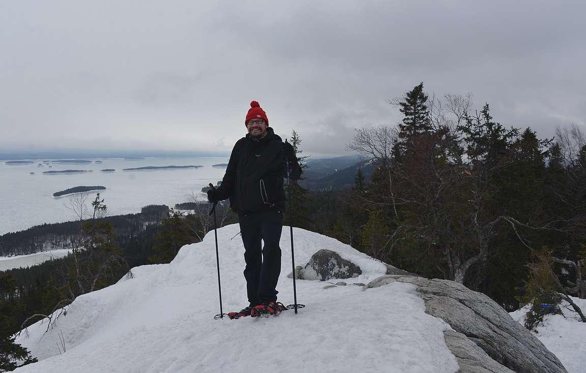 Kevättalvella lumikengät oli viisain varuste Ukko-Kolille.