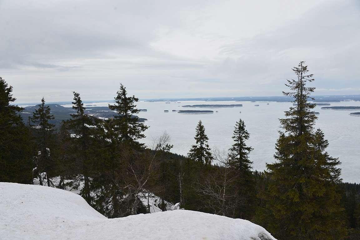 Pielinen avautuu Ukko-Kolilta. Sen yli kulkee talvella Euroopan pisin jäätie.