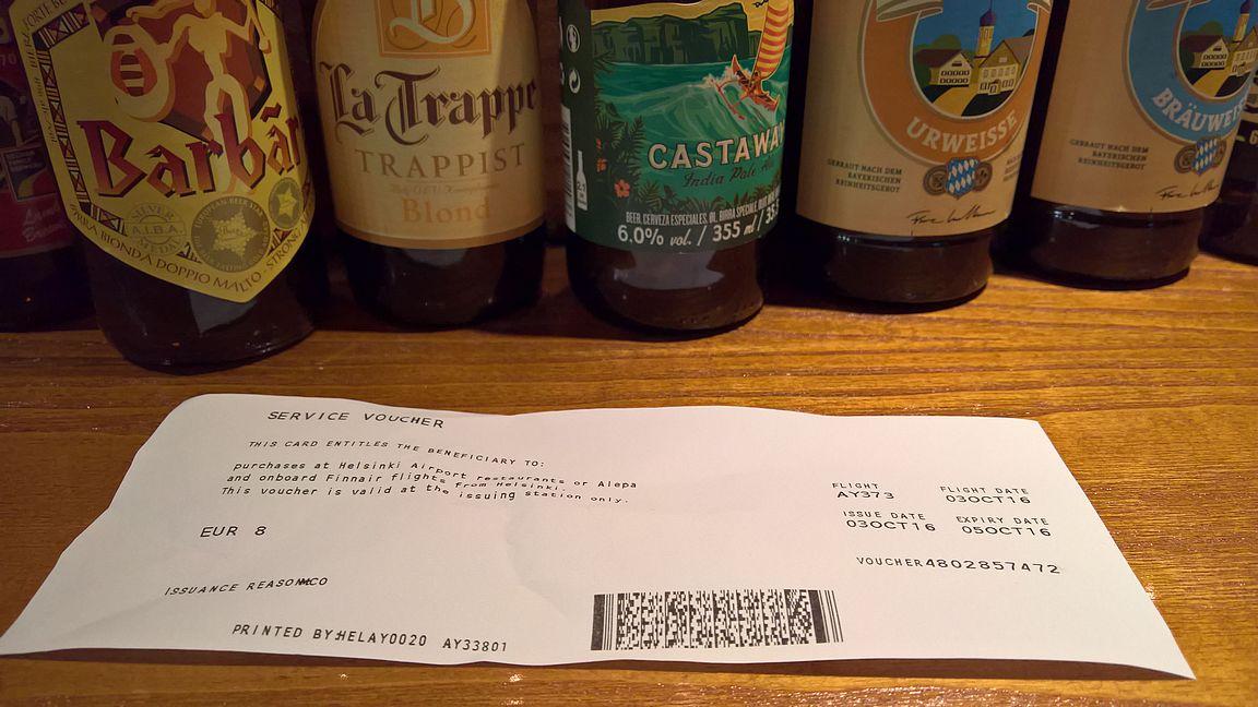 ... mutta kahden tunnin koneessa istumisen jälkeen joisi oluen mieluummin tavoitellussa määränpäässä.