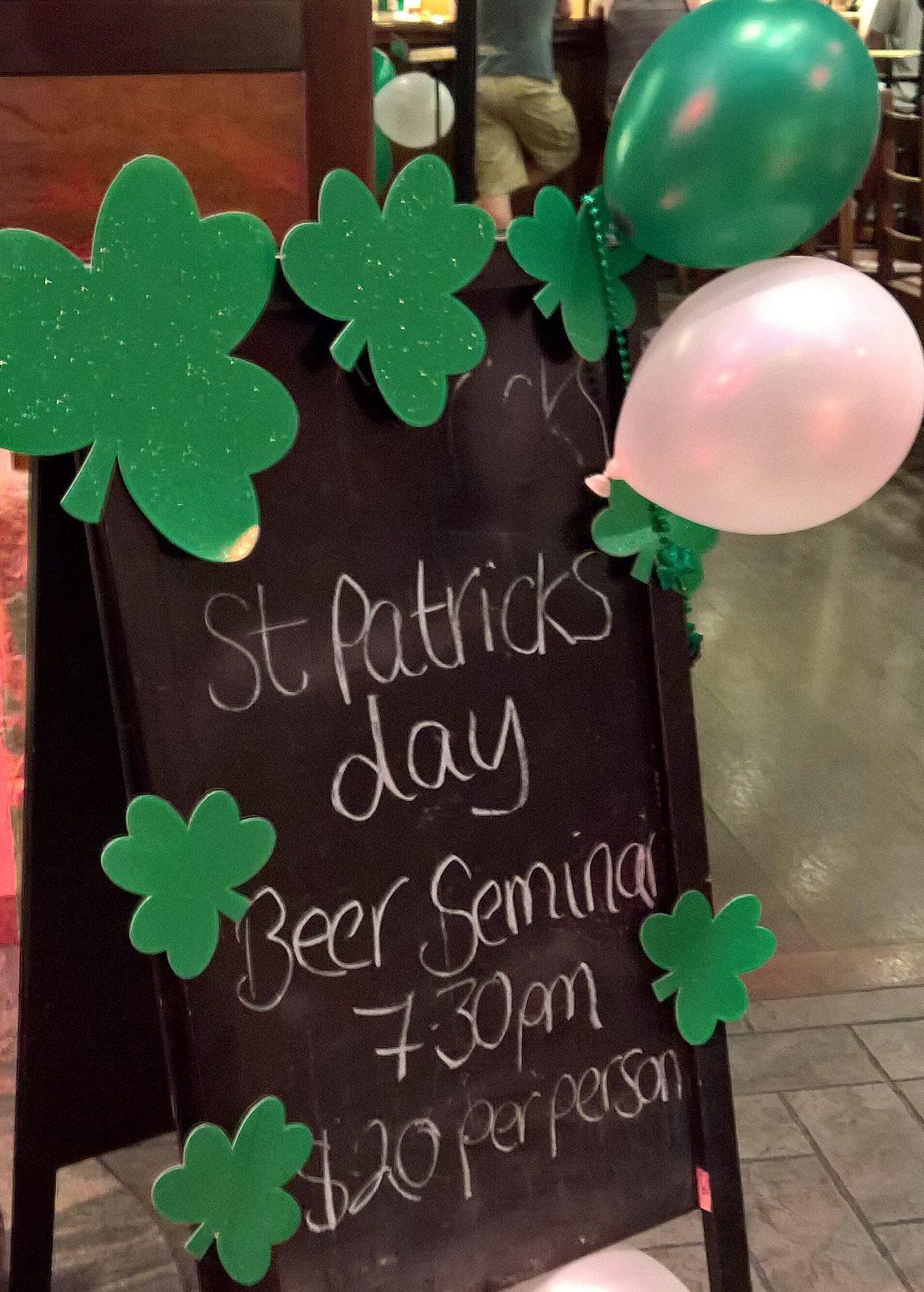 St. Patrick's Day - olutmaistelu, jos mikä sopii ohjelmaan.