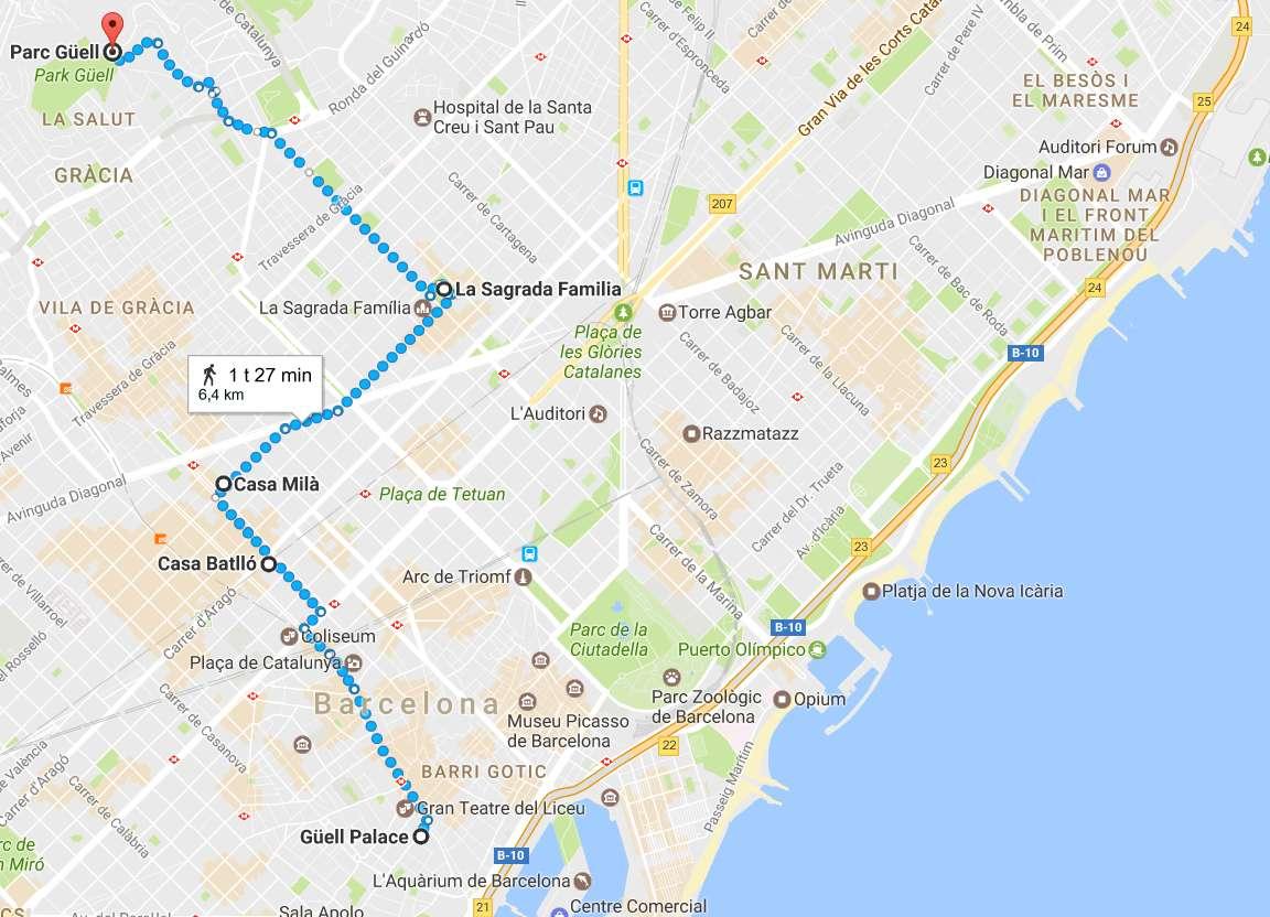 Gaudin merkittävimmät rakennukset Barcelonassa (napsauta kuvaa avataksesi kartan Google Mapsiin).