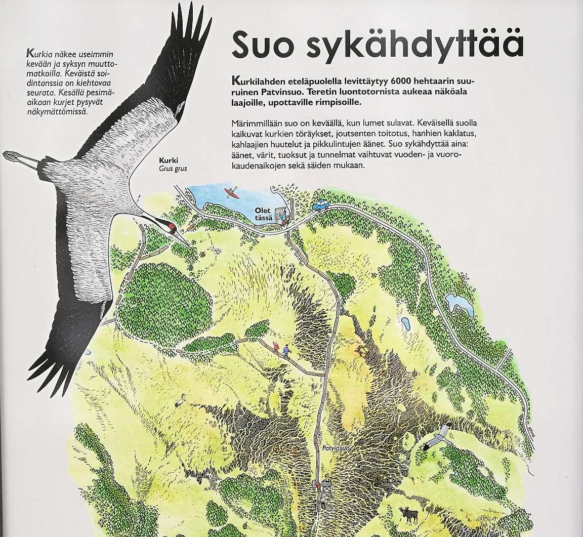 Kurkilahdesta Teretin lintutornille ja paluumatkalla Olkkosen saaren kautta rengasreitti takaisin.