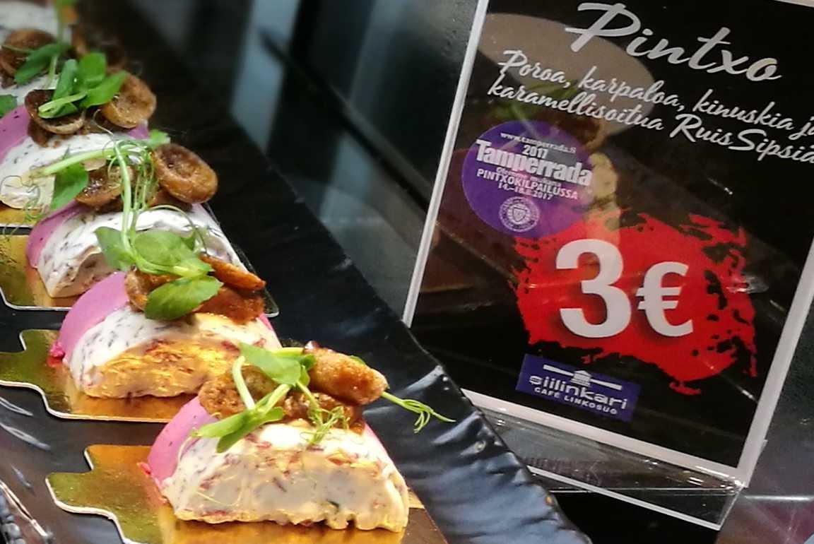 Tamperradassa pääsee nauttimaan kolmella eurolla maukkaita pintxoja ympäri kaupunkia.
