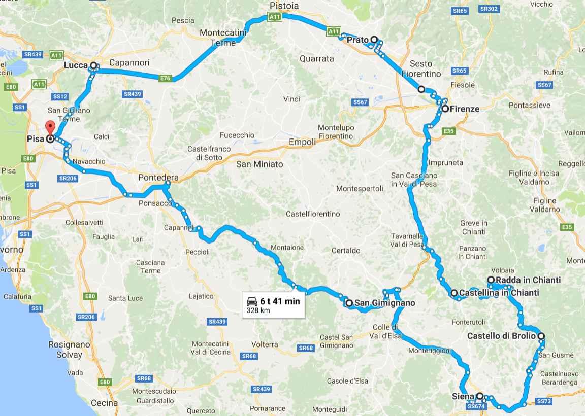 Toscanan parhaat palat (napsauta kuvaa avataksesi Google Mapsin).