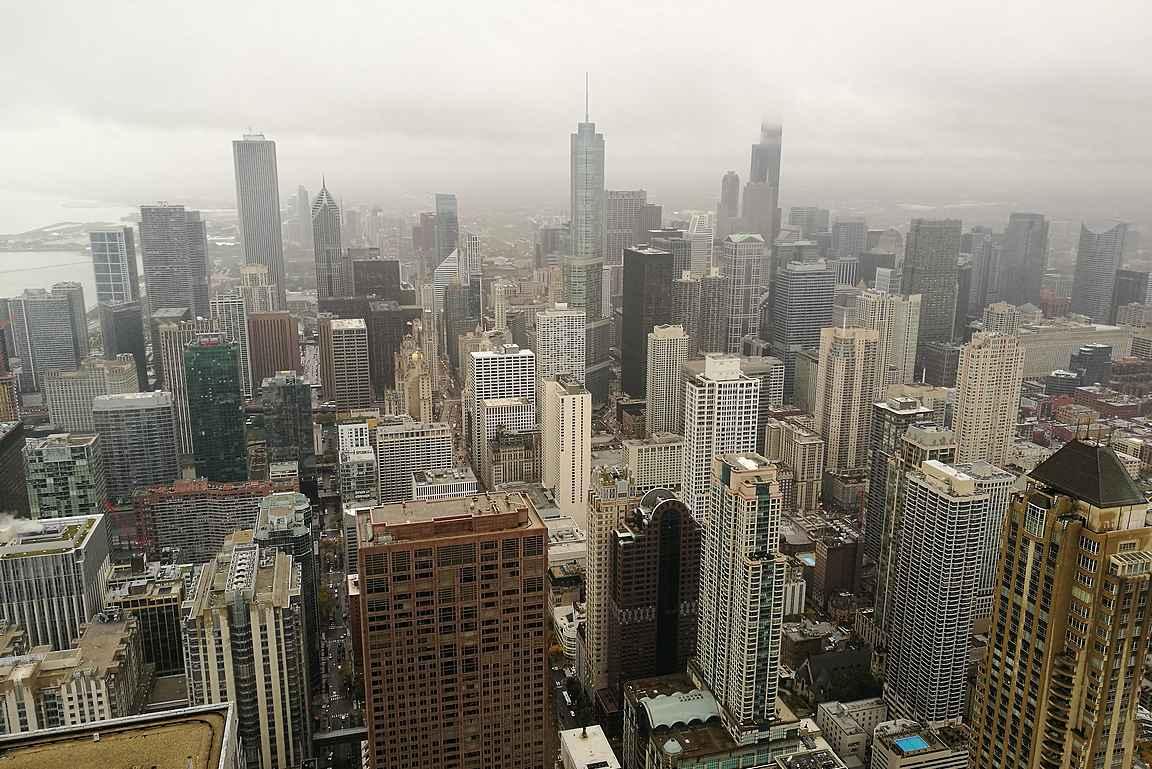 Sateisenakin päivänä maisemat olivat upeat 360 Chicagosta.