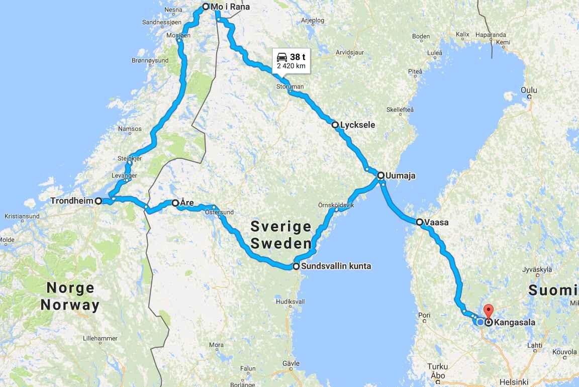 Toimiva reissu olisi tänäkin päivänä, vaikka Sundsvallista ei enää Vaasaan laivalla pääse. (Napsauta karttaa, niin se aukeaa Google Mapsiin).