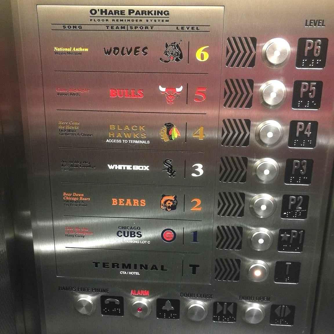 Chicago O'Haran lentokentälle tiedät tulleesi todelliseen urheilukaupunkiin - tällaiset hissinnappulat olivat vastassa...