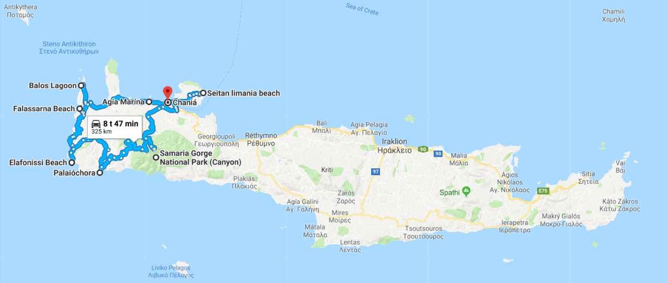 Länsi-Kreetan kohokohdat (napsauta kuvaa, kartta aukeaa Google Mapsiin).