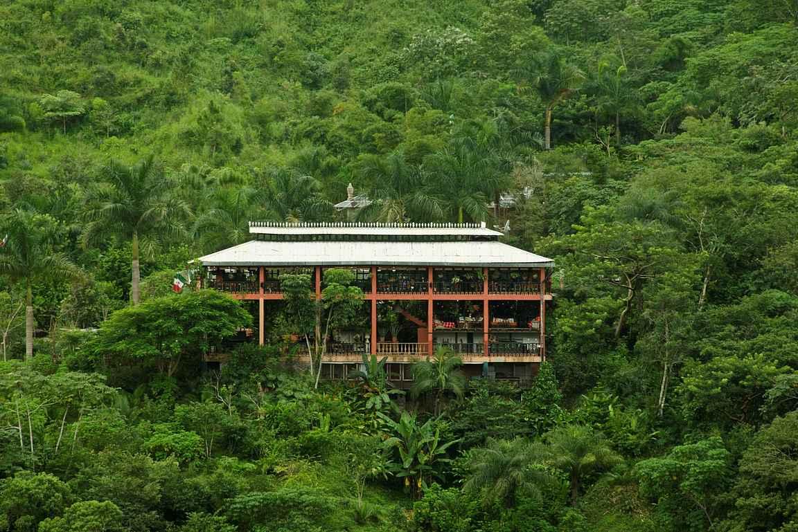 Ravintola La Hacienda de Oro sijaitsee vehreyden keskellä. copyright Jardín Botánico