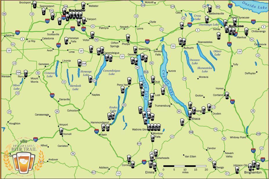 Finger Lakesin alueella on kahdeksankymmentä pienpanimoa.