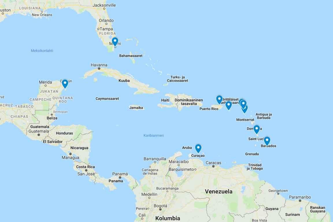 Kymmenen risteilysatamaa Karibialla (avaa kartta Google Mapsiin napsauttamalla kuvaa).