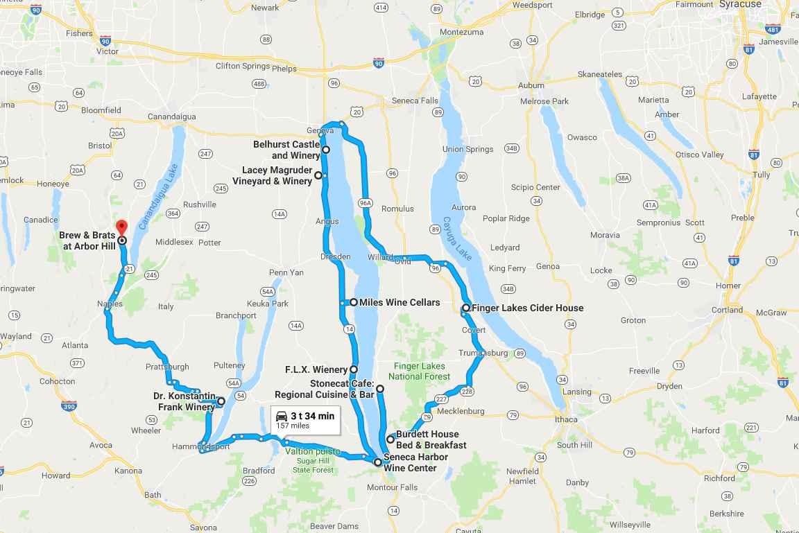Viinitila- ja pienpanimokierros kartalla. Avaa kuvaa napsauttamalla kartta Google Mapsiin.