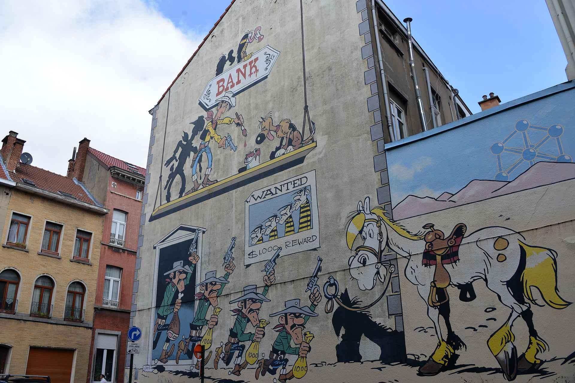 Brysselin keskustassa on lukuisia sarjakuva-aiheisia muraaleja.