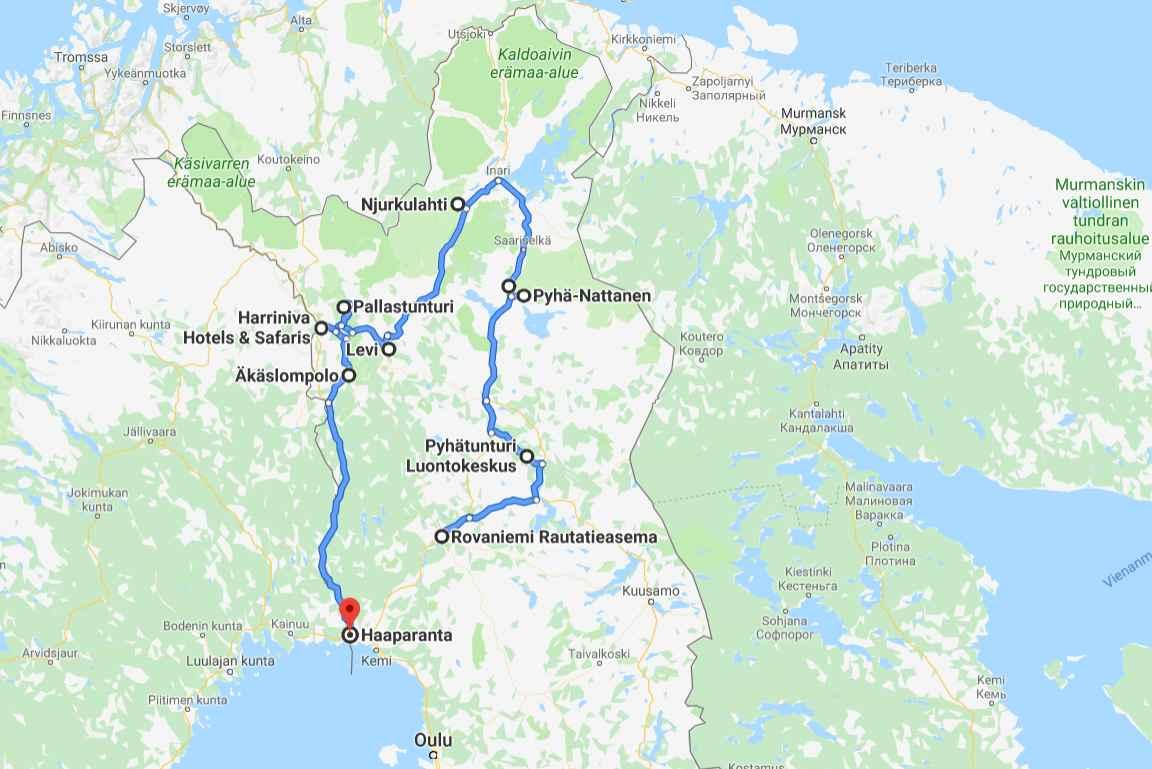 Lapin kierros kesällä 2018. Klikkaa kartta auki Google Mapsiin.