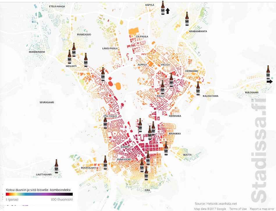 Tiede kannattaa aina. Lauri Vanhala tutki datan avulla missä Helsingissä kannattaa asua, jotta pääsee helpoiten työmatkan aikana laadukkaaseen olutravintolaan bisselle. Lisätietoa: https://www.wanhala.net/