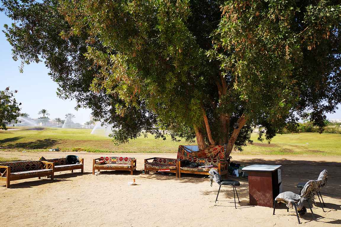 Siinä missä golfkentillä kastelujärjestelmät ovat viimeisen päälle, niin paikallisten yrittäjien toimistot ovat suuren puun alla suojassa auringolta.
