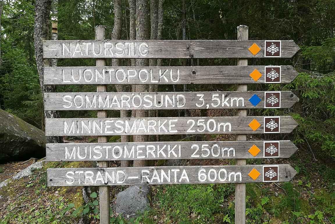 Sömmärösundissa on useita luontopolkuja.