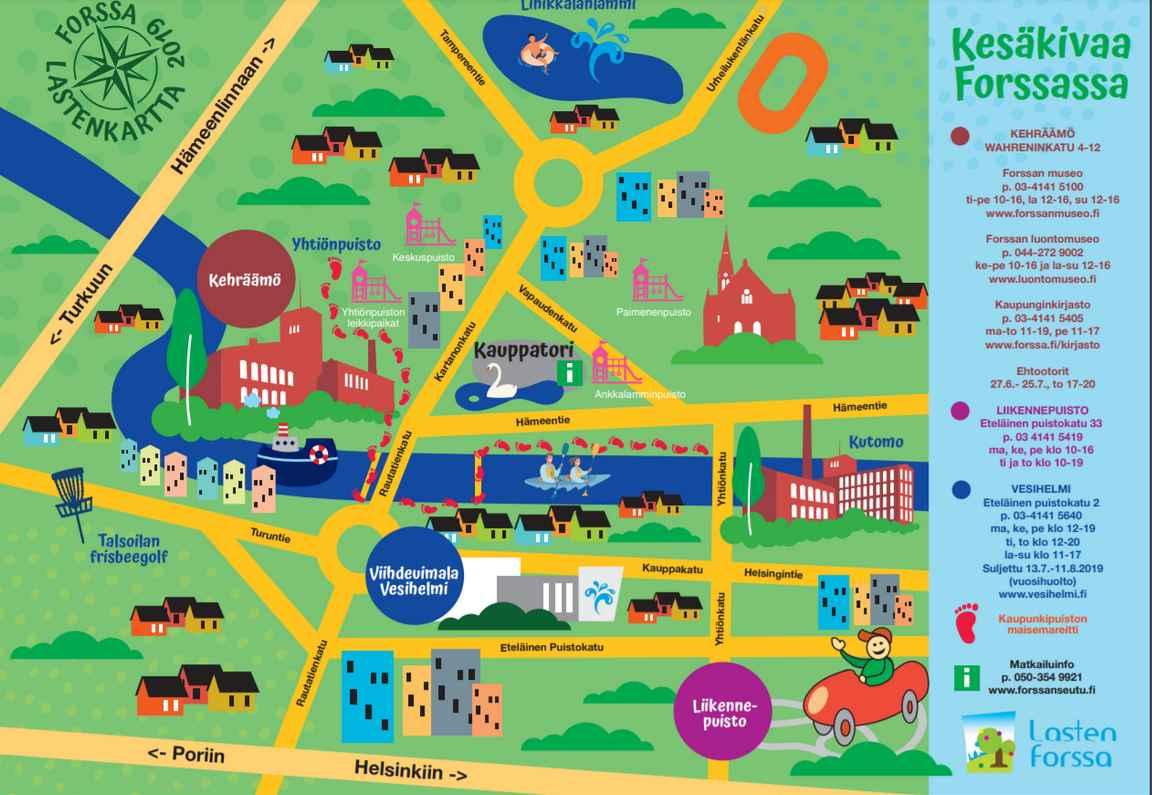 Forssan seudun lasten kartta (napsauta kuvasta PDF auki).