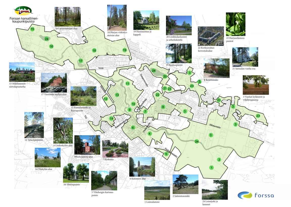 Forssan kansallinen kaupunkipuisto (napsauta kuvaa avataksesi esitteen).