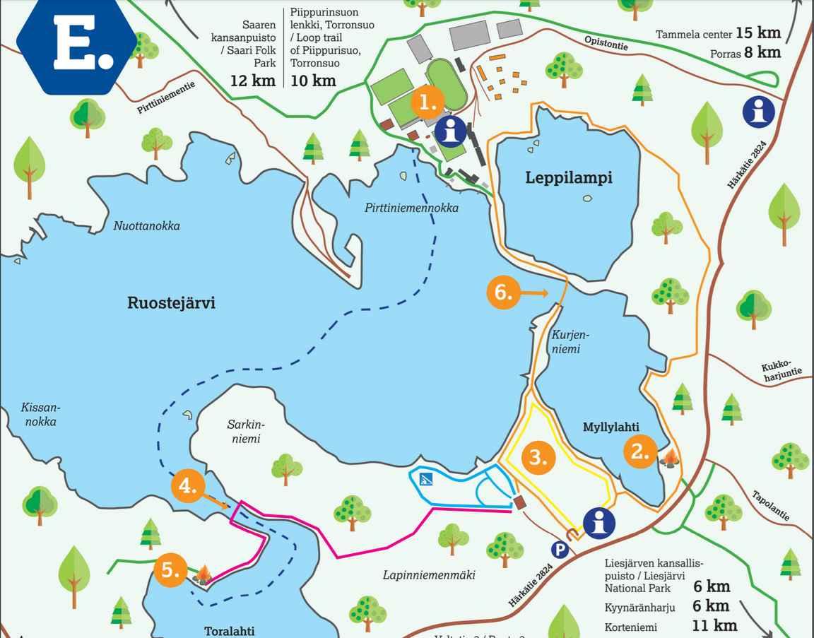 Eerikkilän ja Ruostejärven luontoreitit (napsauta kuvaa avataksesi tulostettavan kartan).