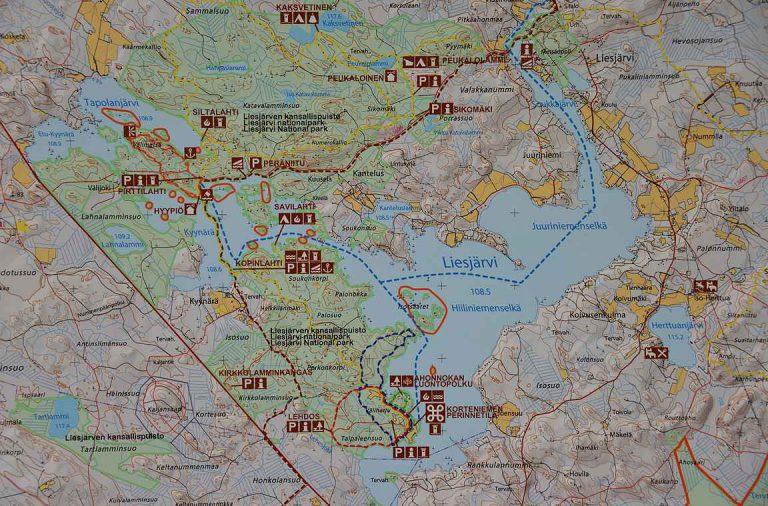 Liesjarven Kansallispuisto Kartta Kohteena Maailma
